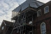 Temporary roof scaffold on a listed building in Norwich